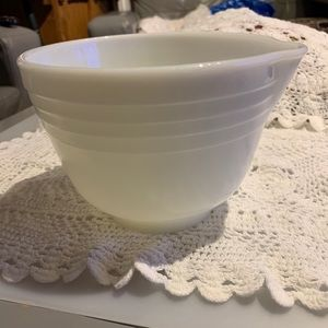 Fire King White Milk Glass Ribbed Mixing Bowl